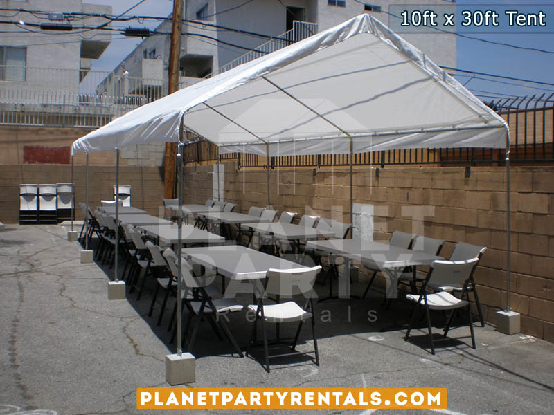 White Party Tent | 10ft x 30ft | Tent Packages Available with Tables and Chairs