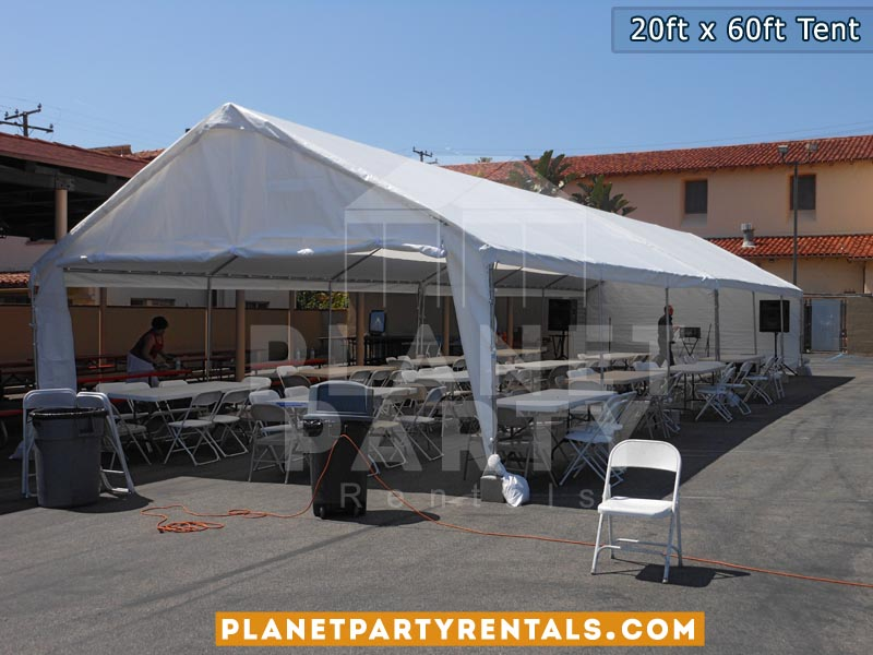 20ft x 60ft White Party Tent with Sidewalls | San Fernando Valley Tent Rentals | Party Rental Equipment