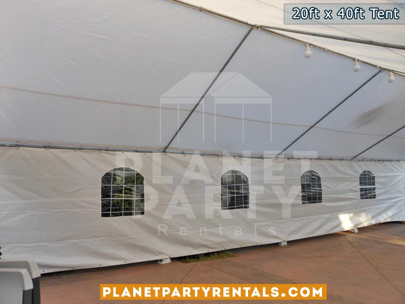 20ft x 40ft White Party Tent with Sidewalls | San Fernando Valley Tent Rentals | Party Rental Equipment