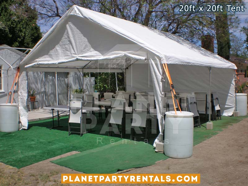 Medium sized party tent 20x20 Tent, white plastic chairs and rectangular tables