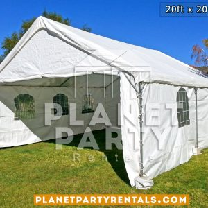 White party tent with window walls