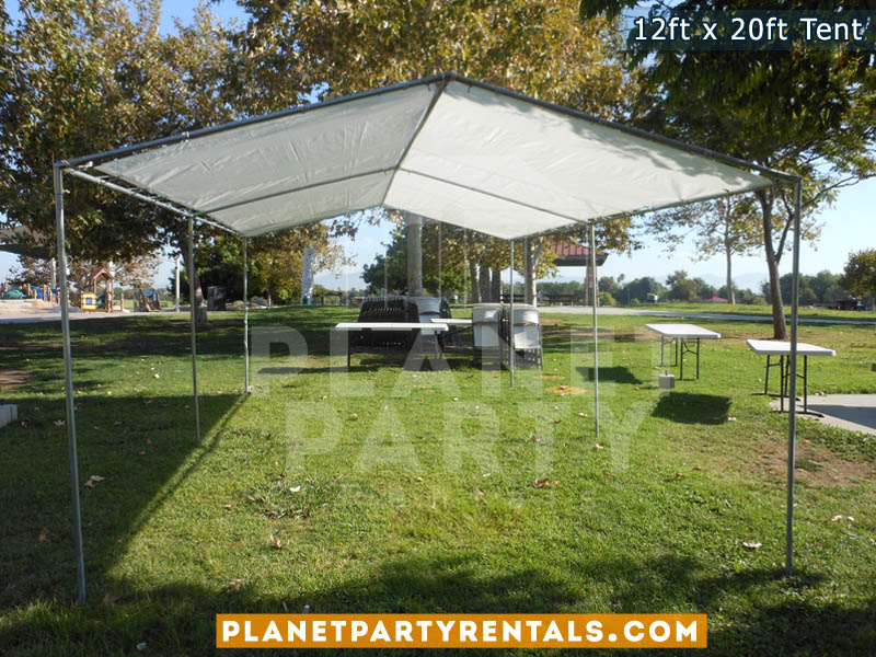 White Party Tent 12ft x 20ft | Pictures | Prices | Ten Packages with Tables and Chairs