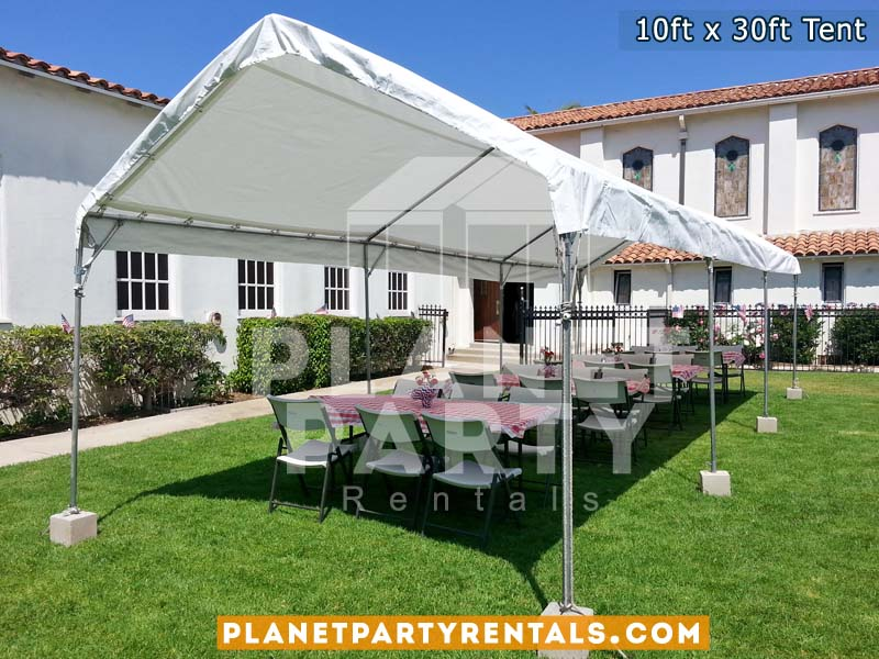 10x30 White Party Tent with Plastic Chairs and Rectangular Tables