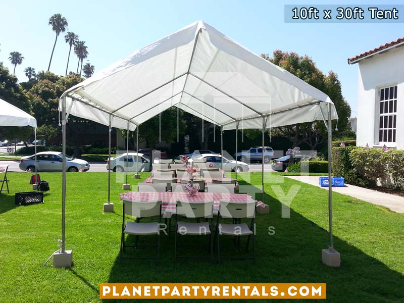 10x30 White Party Tent with Plastic Chairs and Rectangular Tables & Tent 10ft x 30ft Rental | PartyRetanls Canopy Tents Chairs Tables ...