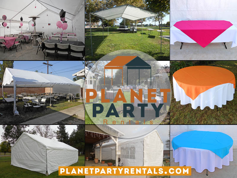 Planet Party Rentals | San Fernando Valley Pary Rental Equipment | Tents Canopies | Tables Chairs Table Cloths | Jumpers | Patio Heaters | Chafing Dishes