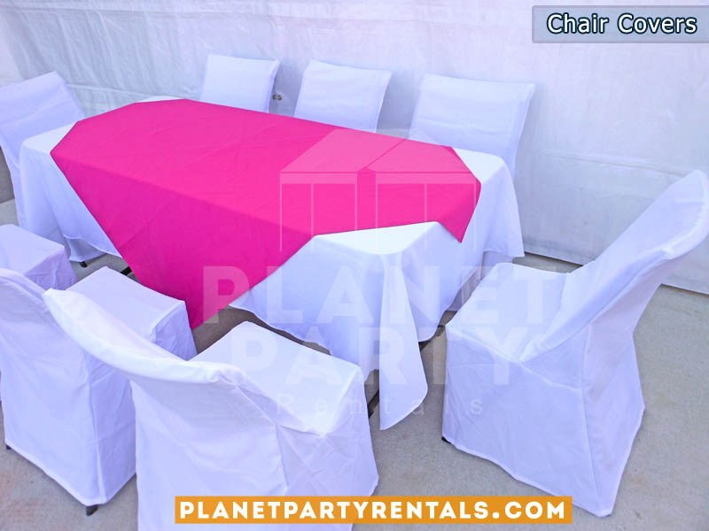 White chair covers on white plastic chairs | Table Cloth Linen Rentals | San Fernando Valley