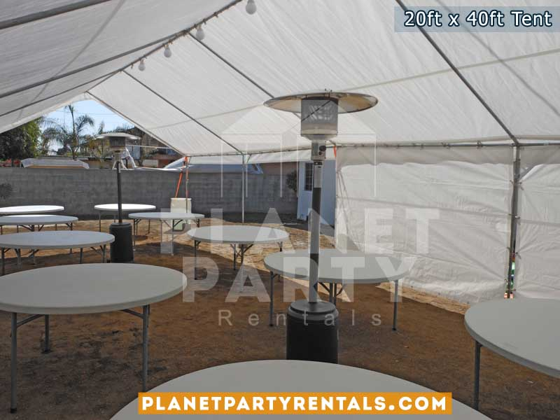 20x40 Tent with window sidewalls and round tables and patio heaters