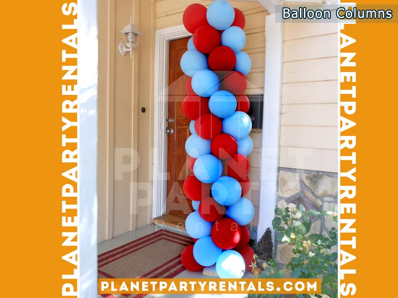Balloon Column with 2 colors Red and Light Blue