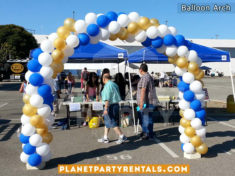 Balloon Arch with 3 Colors White, Gold and Blue