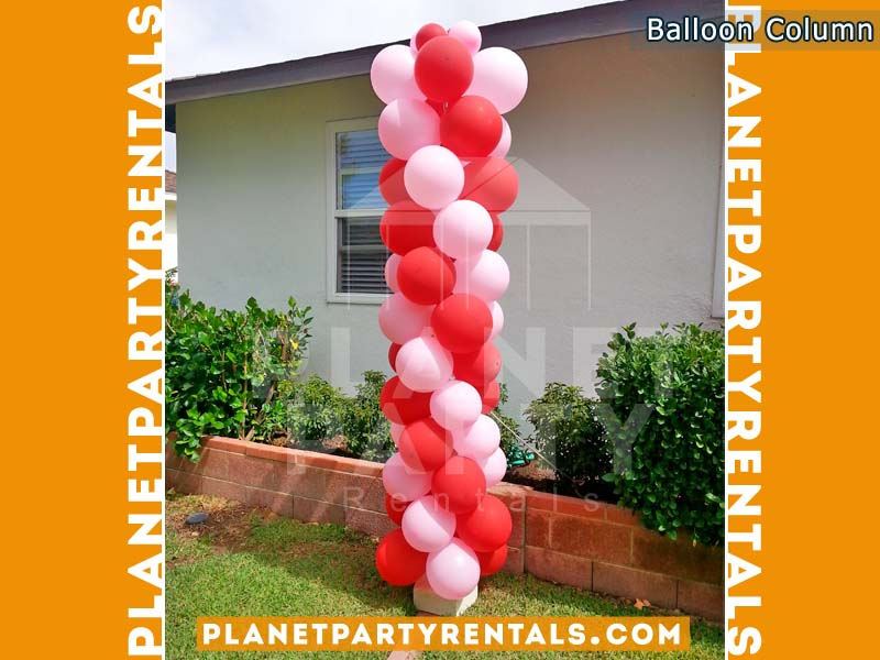 Balloon Column with 2 colors Light Pink and Red