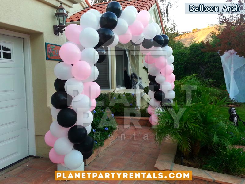 Balloon Arch with 3 Colors White, Black and Pink