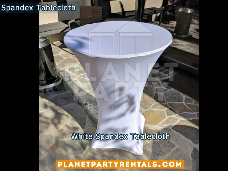 White Cocktail Tablecloth Spandex on Wooden Cocktail Table