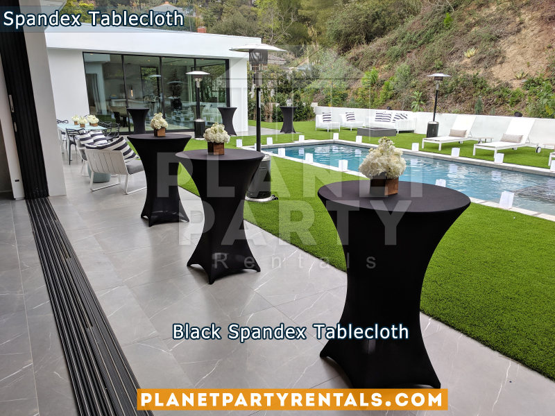 Black Cocktail Tablecloth Spandex on Wooden Cocktail Table