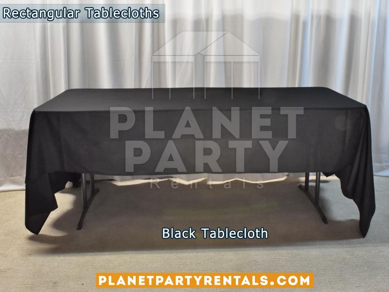Black Rectangular Tablecloth on Rectangular Table