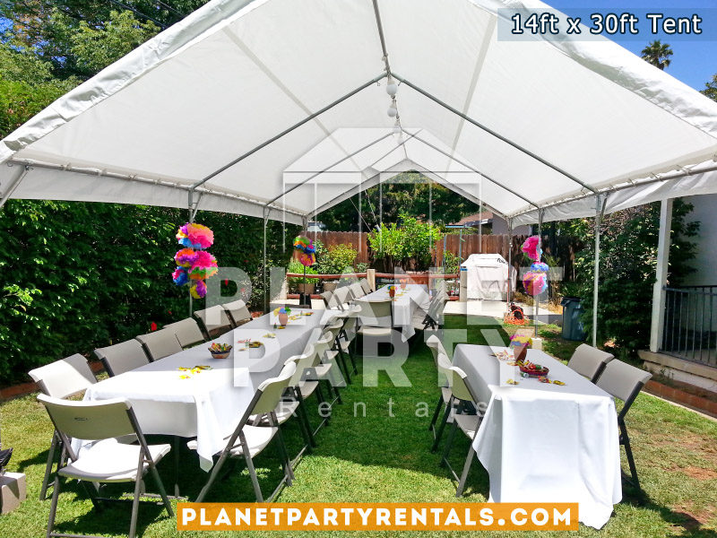 14ft x 30ft White Tent with Rectangular Tables, Tablecloths and Plastic Chairs