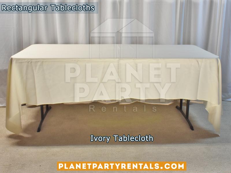 Ivory Rectangular Tablecloth on Rectangular Table