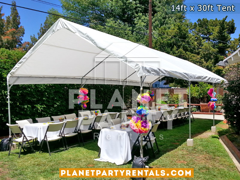 14ft x 30ft White Tent with Rectangular Tables and Plastic Chairs