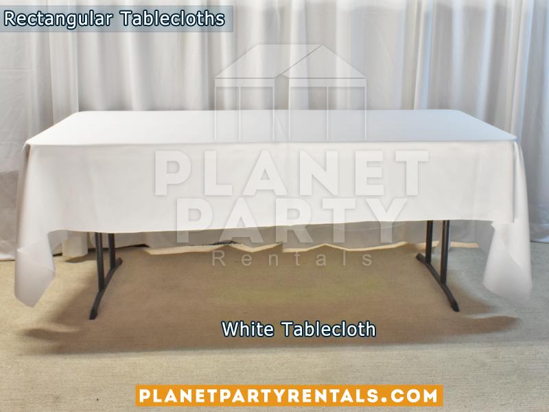 White Rectangular Tablecloth on Rectangular Table