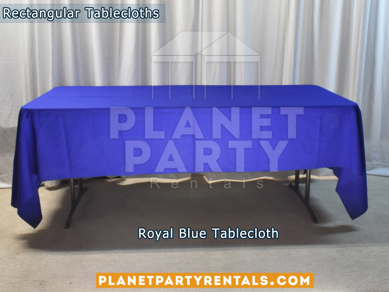 Royal Blue Rectangular Tablecloth on Rectangular Table