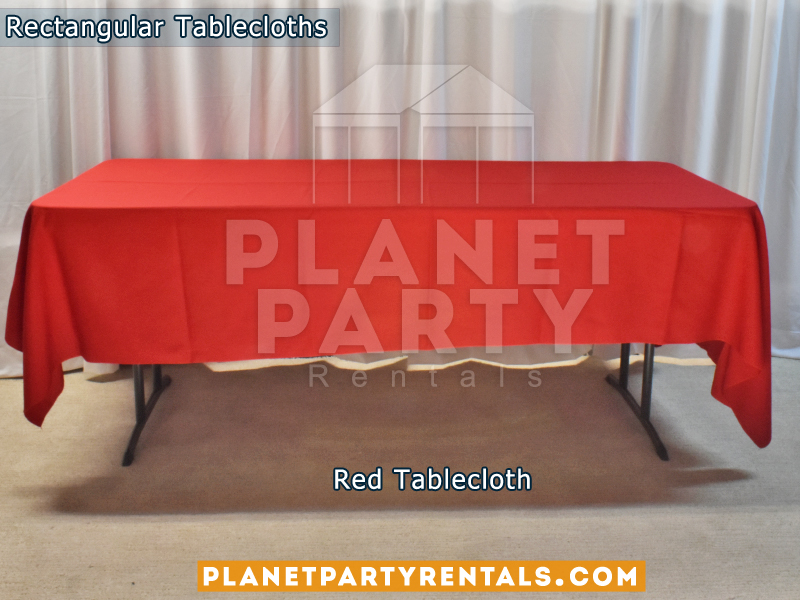 Red Rectangular Tablecloth on Rectangular Table