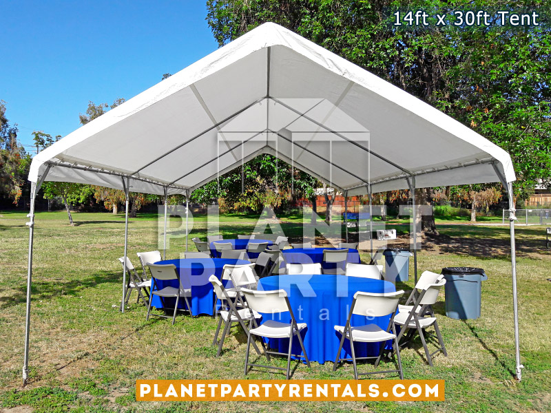 14ft x 30ft White Tent with Round Tables and Plastic Chairs