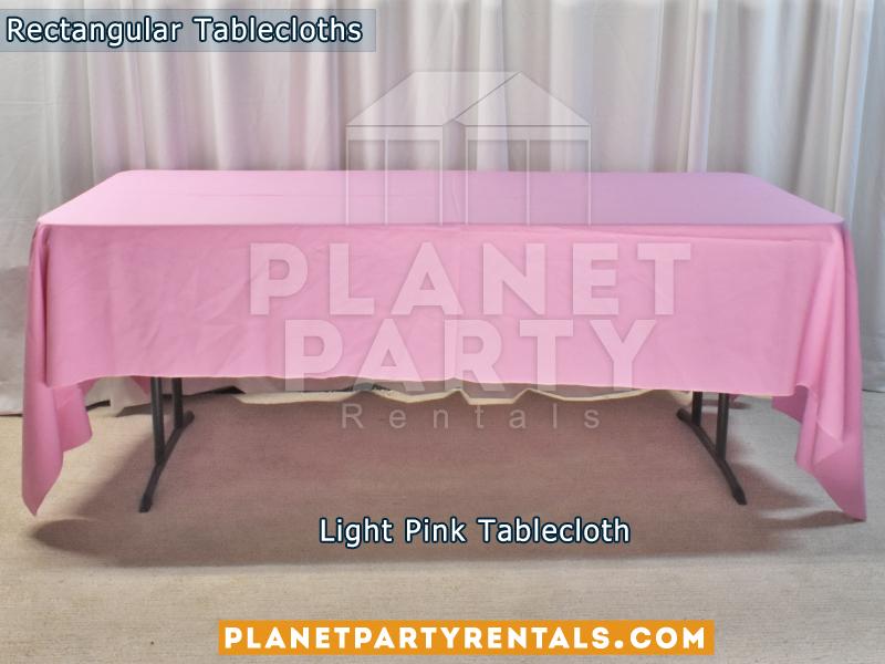 Light Pink Rectangular Tablecloth on Rectangular Table