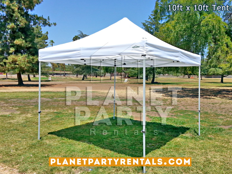 10ft x 10ft Pop-Up Tent (White) on Grass