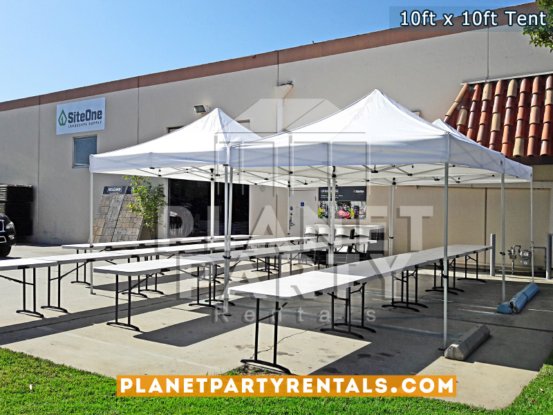10ft x 10ft Pop-Up Tent (White) covering Rectangular Table