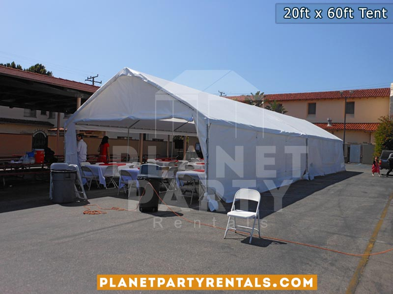 20ft x 60ft White Party Tent with Sidewalls   San Fernando Valley Tent Rentals   Party Rental Equipment