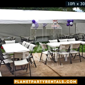 10x30 White Party Tent with Sidewalls and Plastic Chairs and Rectangular Tables